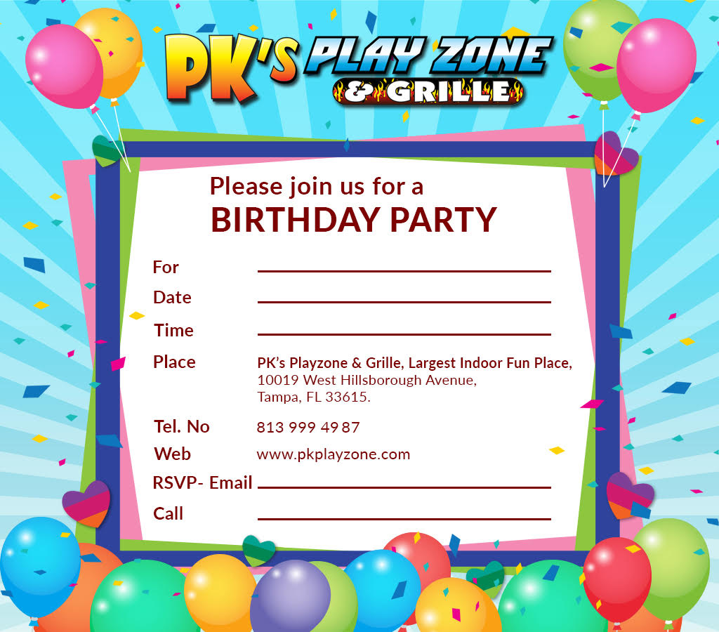 Download Birthday Invitation Card | PK Playzone at Tampa, FL